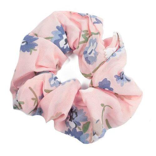 Pozostała biżuteria, Gumka do włosów frotka scrunchie kwiaty różowa