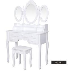 SELSEY Toaletka Shalow 90 cm z zamykanym owalnym lustrem i taboretem