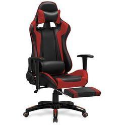 Fotel gamingowy HALMAR DEFENDER 2 - czerwony z podnóżkiem