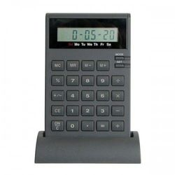 Kalkulator z zegarem na stojaku