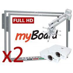 ZESTAW Duet Silver FULL HD STANDARD 90 PANORAMA ( myBoard Silver 90 FullHD + projektor Optoma EH200ST + uchwyt ścienny do projektora myBoard BW120A + okablowanie 10 m (230V, HDMI) + głośniki AMP-32)