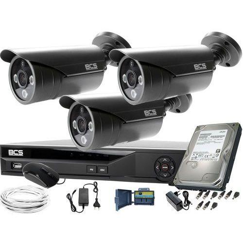 Zestawy monitoringowe, 3x BCS-TQE3500IR3-G Zestaw do monitoringu z podglądem nocnym: Rejestrator BCS-XVR04014KE +Dysk 1TB + Akcesoria