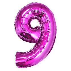 """Balon foliowy cyfra """"9"""" różowa - 35 cm"""