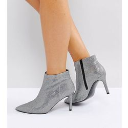 ASOS EMBERLY Wide Fit Pointed Ankle Boots - Silver
