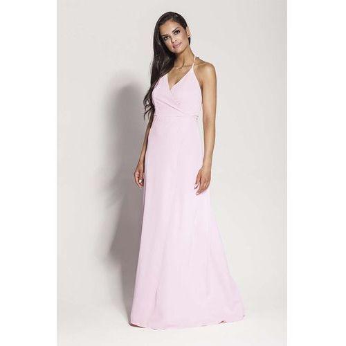 Suknie i sukienki, Różowa Elegancka Długa Sukienka Wiązana na Szyi