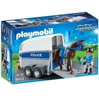 Klocki dla dzieci, Playmobil CITY ACTION Jednoel. konna z przyczepą 6922