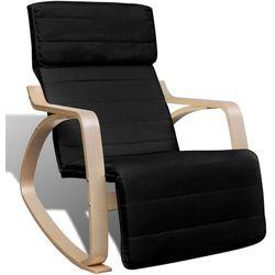 vidaXL Fotel bujany z giętą ramą, materiałowy, regulowany, czarny Darmowa wysyłka i zwroty