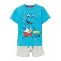 Krótkie spodenki dziecięce, Shirt chłopięcy + krótkie spodenki (2 części) bonprix turkusowo-naturalny melanż