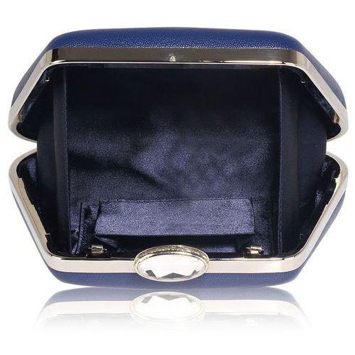 Torebki, Gładka torebka wizytowa z kryształowym zamknięciem ciemny niebieski - niebieski