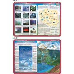 Podkładka edukacyjna. Mapa pogody, zjawiska atmosferyczne, chmury, obieg wody