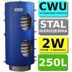 CHEŁCHOWSKI 250L 2-wężownice Nierdzewka Solar, 2W Zbiornik Zasobnik Wymiennik Bojler, Nierdzewna Stal, Wysyłka GRATIS