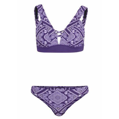Stroje kąpielowe, Bikini bustier (2 części) bonprix lila wzorzysty