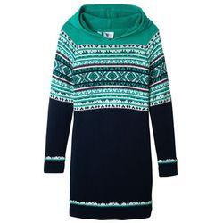 Sukienka dzianinowa z kapturem bonprix ciemnoniebiesko-turkusowy