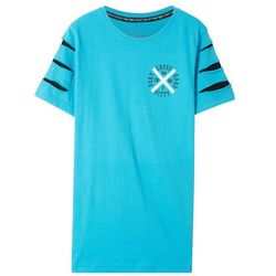 Długi shirt z rozcięciami bonprix turkusowy z nadrukiem