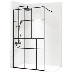 REA BLER 2 Ścianka prysznicowa 120cm, czarne profile + powłoka EASY CLEAN, loftowe