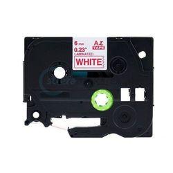 Brother tze-212 biała/czerwony nadruk 6mm x 8m zamiennik