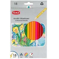 Kredki, Kredki ołówkowe trójkątne 18 kolorów TOMA