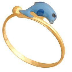 Młodzieżowy regulowany pierścionek. Ozdobiony emaliowanym delfinkiem. (29997