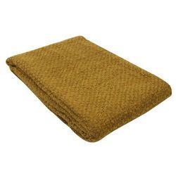 Ręcznie tkany pled z frędzlami VALADOR – akryl i wełna – 130 × 170 cm – kolor camel
