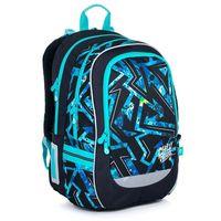 Tornistry i plecaki szkolne, Plecak szkolny czarny z niebieskim wzorem Topgal CODA 21020 B