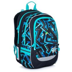 Plecak szkolny czarny z niebieskim wzorem Topgal CODA 21020 B