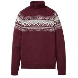 Sweter z golfem bonprix czerwony klonowy wzorzysty