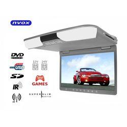 "NVOX RF1515D Grey Monitor podwieszany podsufitowy LCD 15"" cali DVD USB SD IR FM GRY"
