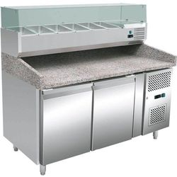 Stół chłodniczy do pizzy 2-drzwiowy na blachy 60x40 cm z nadstawką chłodniczą