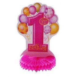 Rozeta na roczek 1st Birthday Baloniki różowa - 35 cm - 1 szt.