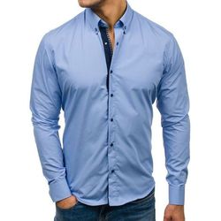 Koszula męska elegancka z długim rękawem błękitna Bolf 7723