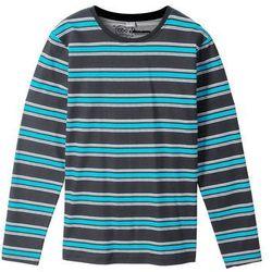 Shirt w paski z długim rękawem bonprix czarno-turkusowo-biel wełny w paski