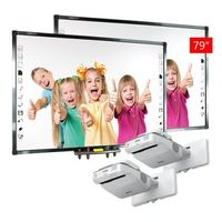 Tablice interaktywne, ZESTAW: 2 x Qomo QWB379BW + projektor EPSON EB670 - AKTYWNA TABLICA