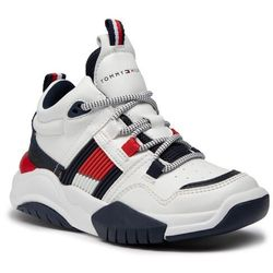 Sneakersy TOMMY HILFIGER - Mid Cut Lace-Up Sneaker T3B4-30945-0815 M White 100