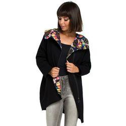 Damska bluza z kapturem i suwakiem na skos czarna B091