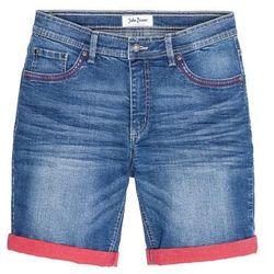 Bermudy dżinsowe ze stretchem i kontrastowym wywinięciem Slim Fit bonprix niebieski