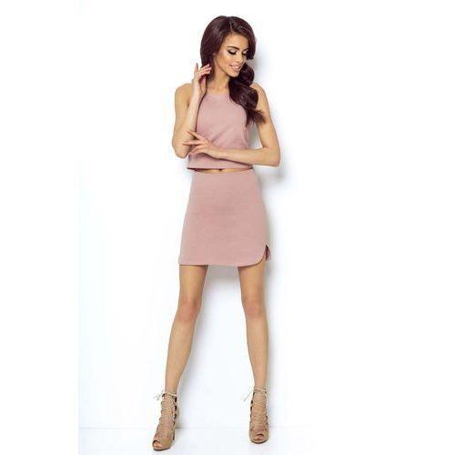 Spódnice, Różowa Asymetryczna Mini Spódnica na Gumie