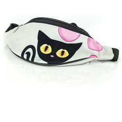 Czarny Kot nerka saszetka Shellbag 32 cm