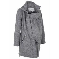 Krótki płaszcz ciążowy z wstawką na nosidełko, z materiału w optyce wełny bonprix czarny melanż, w 9 rozmiarach