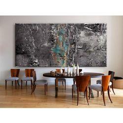 Elegancki w modnych odcieniach srebra i pastelowego turkusu wielki obraz do salonu - posrebrzana fantazja rabat 15%