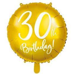 """Balon foliowy """"30 Urodziny 30th Birthday"""", PartyDeco, 18"""" złoty"""