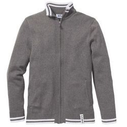 Sweter rozpinany Regular Fit bonprix szary melanż