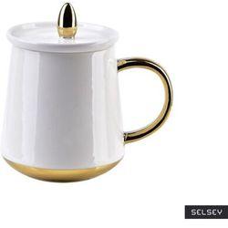 SELSEY Kubek z pokrywką Tworme 380 ml biało-złoty