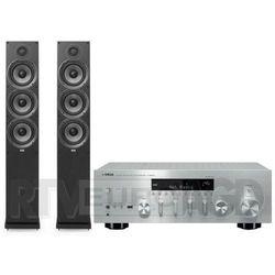 Yamaha MusicCast R-N803D (srebrny), Elac Debut 2.0 F6.2 (czarny)