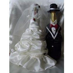Ubranka na butelkę szampana - Bella biale z różem
