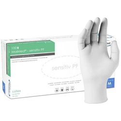 Ochronne rękawice lateksowe MaiMed Senseiv PF bezpudrowe, białe 100 szt - roz. M