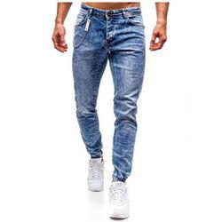 Spodnie jeansowe joggery męskie niebieskie Denley 2057