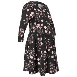 Sukienka ciążowa neoprenowa bonprix czarny w kwiaty