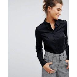 ASOS DESIGN fuller bust long sleeve shirt in stretch cotton - Black