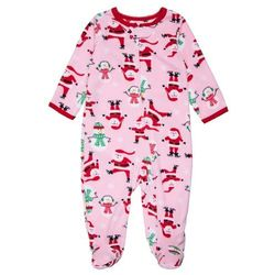 Carter's CHRISTMAS GIRL SANTA ALL OVER PRINT BABY Kombinezon pink