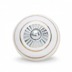 Gałka do mebli Pierścienie biało-złote (duża)